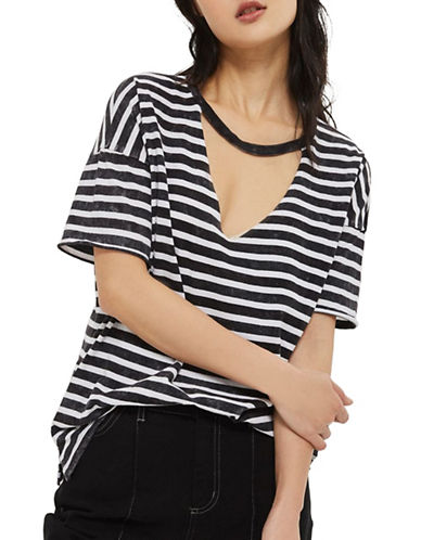 Topshop Choker Acid Stripe Tee-CHARCOAL-UK 8/US 4
