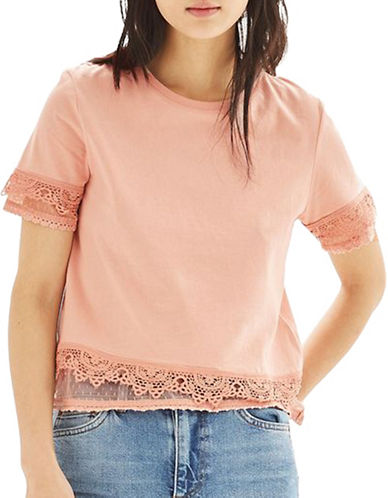 Topshop Dobby Trim Tee-PINK-UK 8/US 4