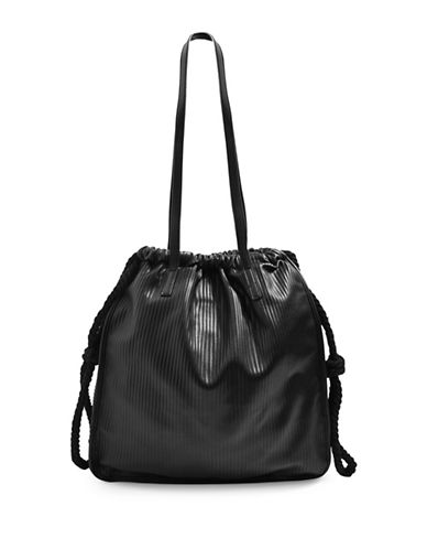 Topshop Plisse Rope Shopper Bag-BLACK-One Size