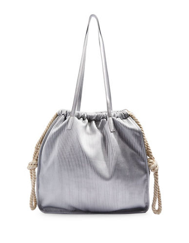 Topshop Plisse Rope Shopper Bag-LIGHT GREY-One Size