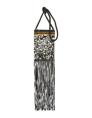 Topshop Holi Festival Fringe Crossbody Bag-BLACK-One Size