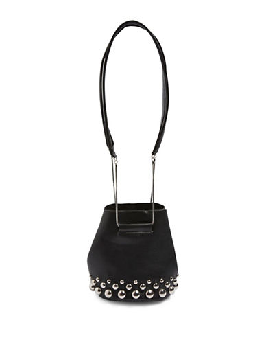 Topshop Seth Dome Studded Bucket Bag-BLACK-One Size