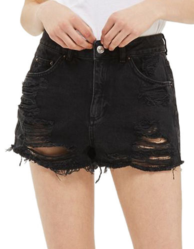 Topshop PETITE MOTO Longline Rip Mom Shorts-WASHED BLACK-UK 4/US 0