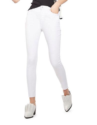 Topshop MOTO Raw Hem Jamie Jeans 32-Inch Leg-WHITE-32X32