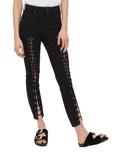 Topshop PETITE MOTO Front Lace Jamie Jeans 28-Inch Leg-BLACK-25X28