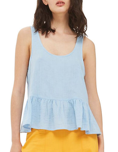 Topshop Gauzy Peplum Top-LIGHT BLUE-UK 16/US 12