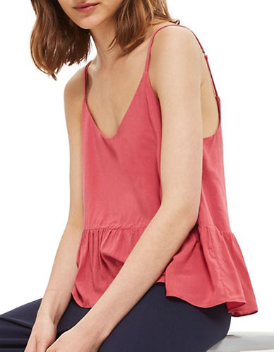 Topshop Relaxed Peplum Cami-DARK PINK-UK 12/US 8