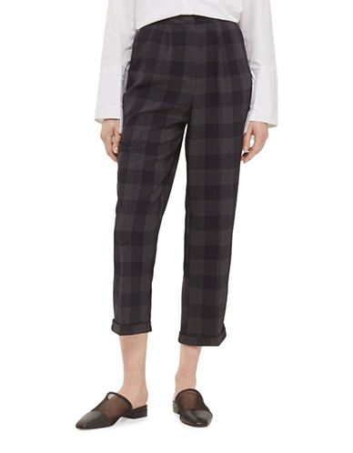 Topshop Checked Trousers-NAVY BLUE-UK 8/US 4
