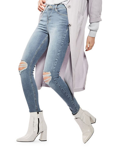 Topshop MOTO Ripped Jamie Jeans 30-Inch Leg-BLUE-28X30
