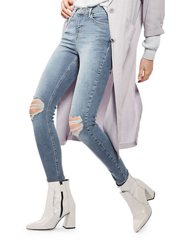 Topshop MOTO Ripped Jamie Jeans 32-Inch Leg-BLUE-25X28
