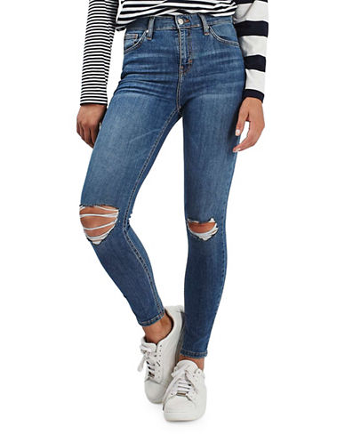 Topshop MOTO Ripped Jamie Jeans 34-Inch Leg-BLUE-26X34