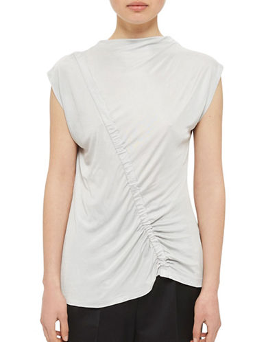 Topshop Ruched Front Top by Boutique-LIGHT GREY-UK 8/US 4