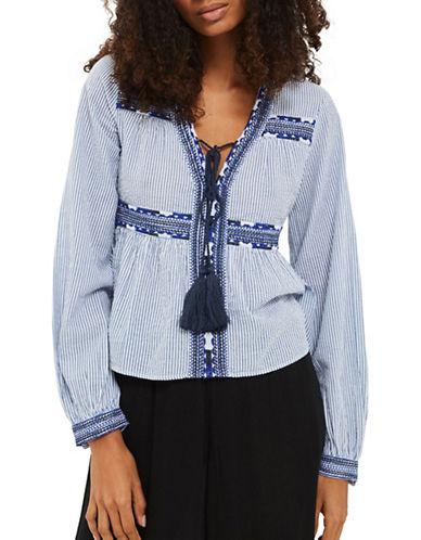 Topshop Stripe Embroidered Smock Top-BLUE-UK 12/US 8
