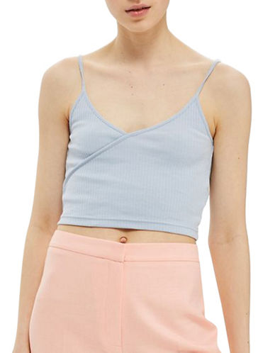 Topshop PETITE Strappy Crop Top-BLUE-UK 8/US 4