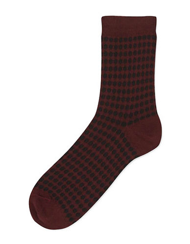Topshop Tuck Stitch Spot Ankle Socks-BURGUNDY-One Size