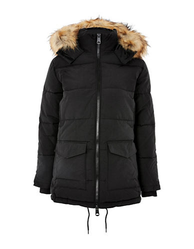 Topshop PETITE Keaveny Puffer Jacket-BLACK-UK 12/US 8