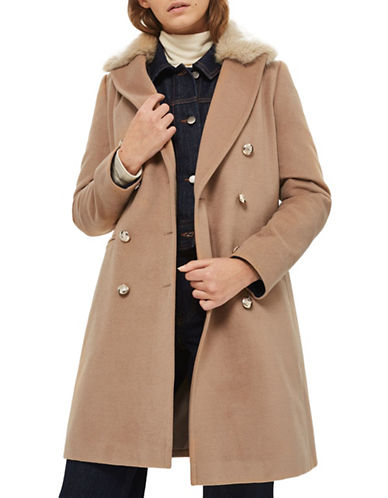 Topshop Nina Faux Fur Collar Coat-CAMEL-UK 8/US 4