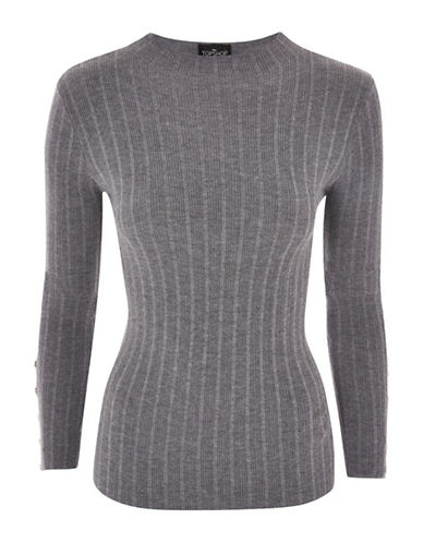 Topshop PETITE Ribbed Pullover-CHARCOAL-UK 6/US 2