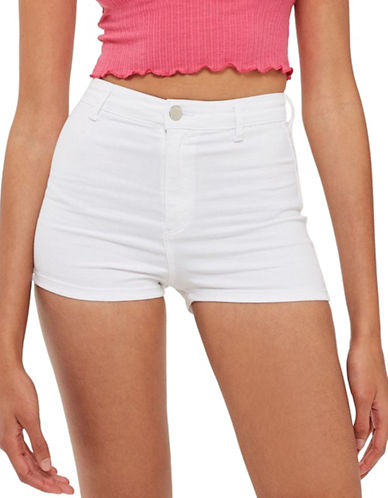Topshop MOTO Joni Stretch Shorts-WHITE-UK 12/US 8