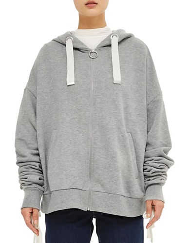 Topshop Ruched Sleeved Hoodie by Boutique-GREY MARL-UK 14/US 10