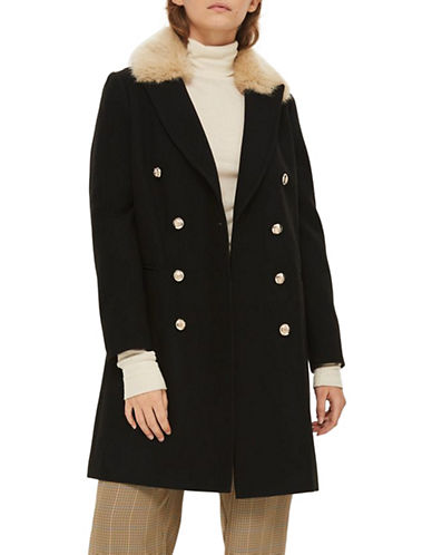 Topshop Nina Faux Fur Collar Coat-BLACK-UK 8/US 4