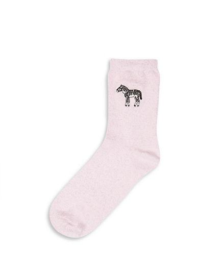 Topshop Embroidered Glitter Zebra Socks-PINK-One Size