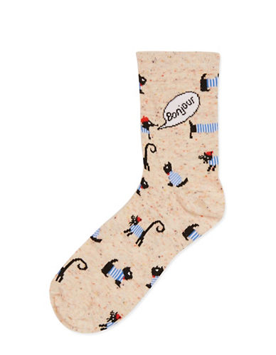 Topshop Bonjour Dog Ankle Socks-MULTI-One Size