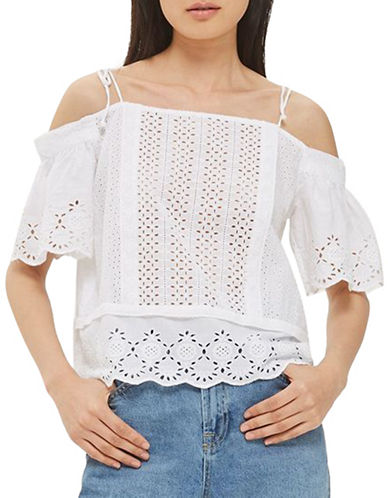 Topshop Mixed Broderie Bardot Top-WHITE-UK 6/US 2