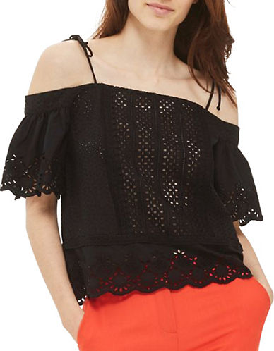 Topshop Mixed Broderie Bardot Top-BLACK-UK 8/US 4
