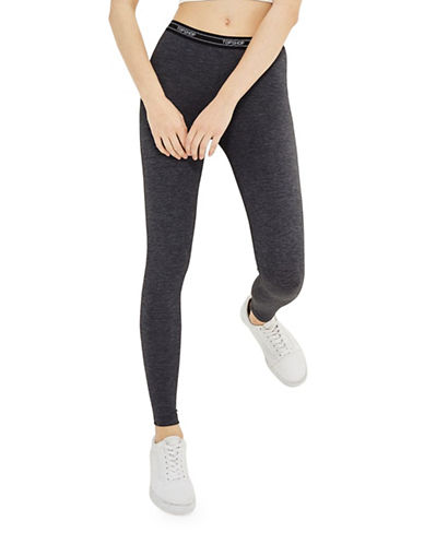 Topshop Logo Elastic Leggings-CHARCOAL-UK 10/US 6
