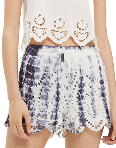 Topshop Tie-Dye Cutwork Broiderie Shorts-MULTI-UK 8/US 4