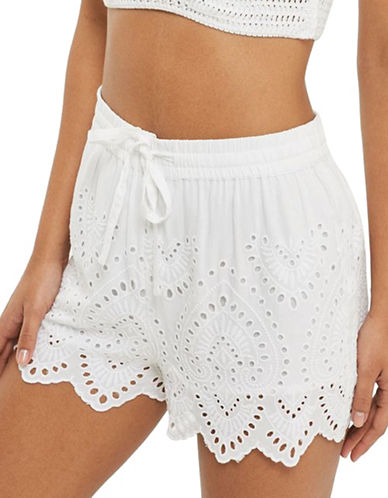 Topshop Cutwork Broderie Shorts-WHITE-UK 8/US 4
