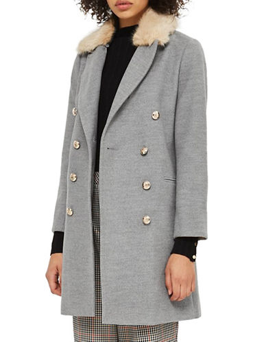 Topshop PETITE Nancy Faux Fur Crombie Coat-GREY-UK 8/US 4