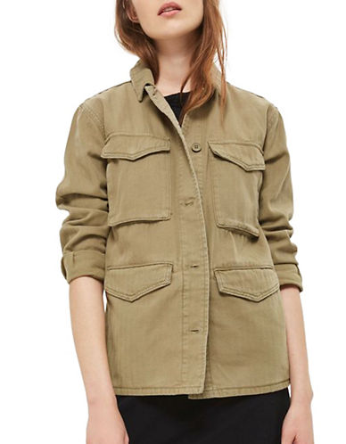 Topshop Ethan Military Jacket-KHAKI-UK 12/US 8