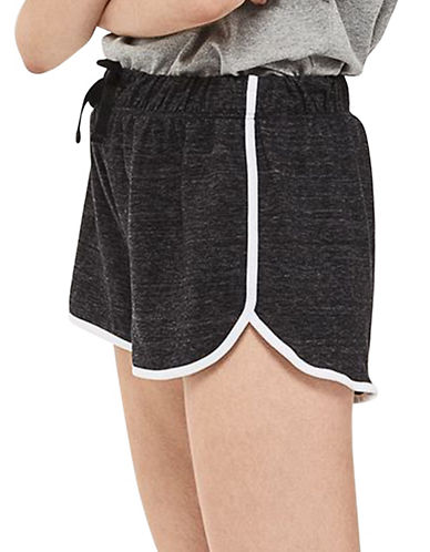 Topshop Sporty Neppy Runner Shorts-CHARCOAL-UK 8/US 4