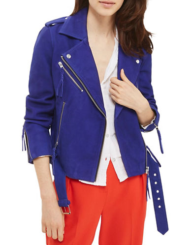 Topshop Suede Biker Jacket-BLUE-UK 8/US 4