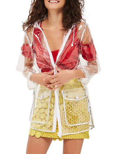 Topshop Transparent Raincoat-CLEAR-UK 8/US 4