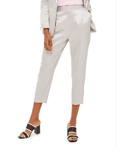 Topshop Metallic Suit Peg Trousers-SILVER-UK 10/US 6