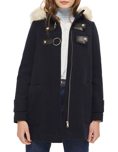 Topshop Hooded Faux Fur Trim Coat-NAVY BLUE-UK 8/US 4