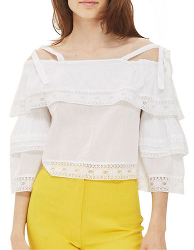 Topshop Lace Trim Layer Sun Top-WHITE-UK 12/US 8