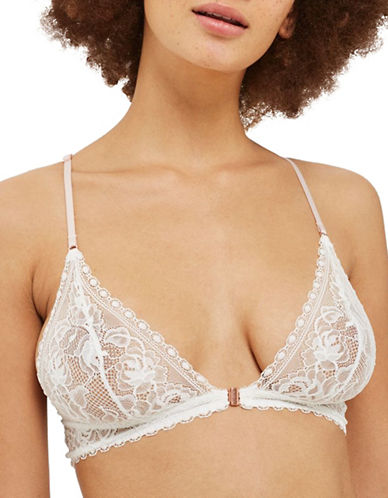 Topshop Lace Triangle Bra-IVORY-UK 12/US 8