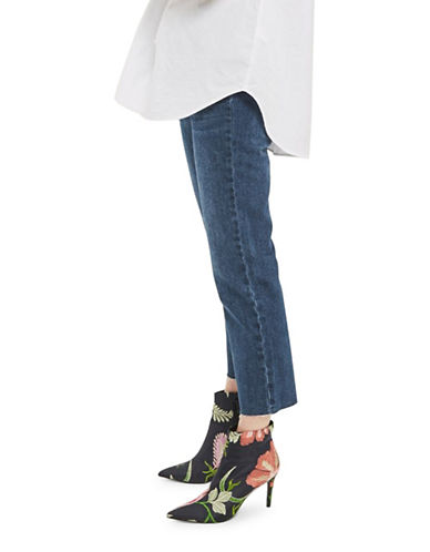 Topshop MOTO Cropped Flared Jeans 32-Inch Leg-BLUE-25X32