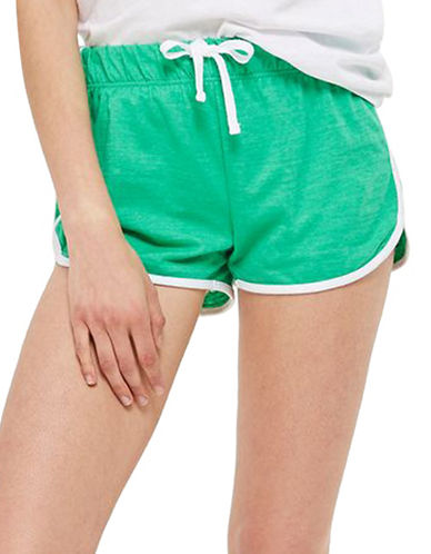 Topshop Sporty Neppy Runner Shorts-GREEN-UK 8/US 4