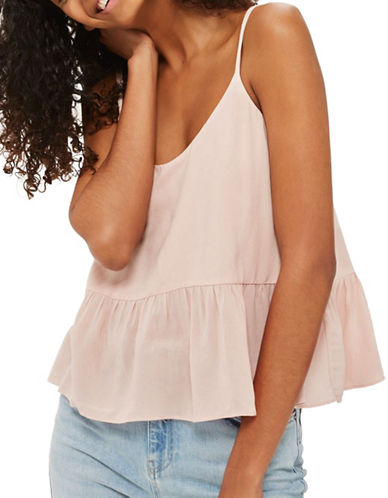 Topshop Relaxed Peplum Cami-NUDE-UK 8/US 4