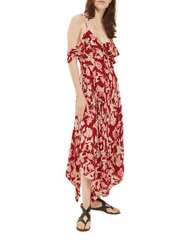Topshop PETITE Asymmetrical Floral-Printed Midi Dress-BURGUNDY-UK 8/US 4