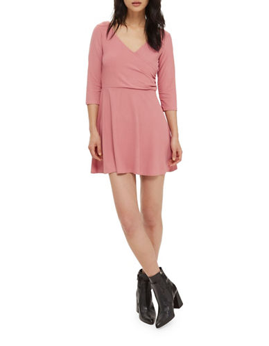 Topshop PETITE Wrap-Back Skater Dress-PINK-UK 8/US 4