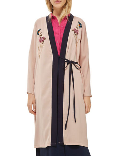 Topshop Embroidered Duster Coat-NUDE-UK 8/US 4