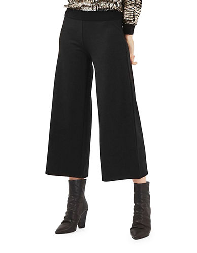 Topshop PETITE Ponte Wide Leg Trousers-BLACK-UK 8/US 4