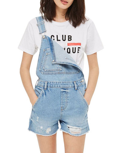 Topshop MOTO Boyfriend Short Dungarees-BLUE-UK 10/US 6