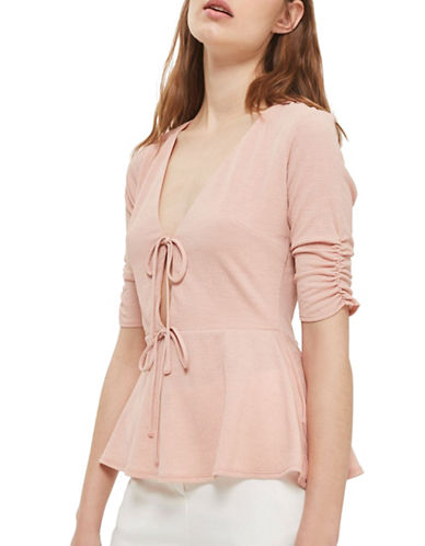 Topshop Textured V-Neck Tie Top-DUSTY PINK-UK 6/US 2